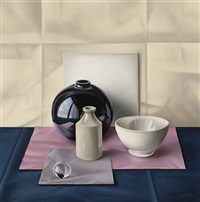 still life with black jar by freddy van cotthem