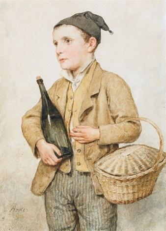 knabe mit korb und weinflasche by albert anker