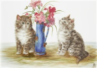 kittens with flower vase (+ kittens with balls of thread; pair) by bessie bamber