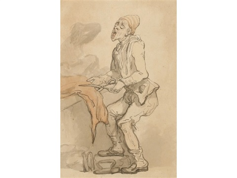 tailor cutting red cloth study by thomas rowlandson