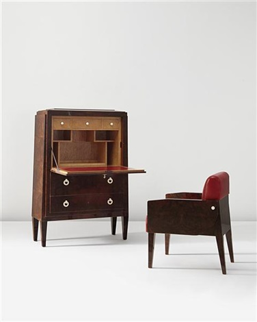 secretaire, chair and untitled (3 works) by paul dupré-lafon