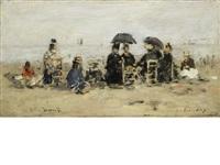 trouville, scène de plage by eugène boudin