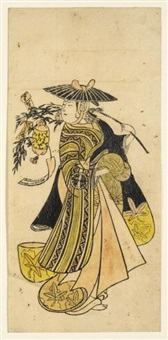 a woman in travelling garb, wearing a wide-brimmed hat and carrying a pillow attached with a tanzaku suspended from a bamboo branch (hosoban urushi-e) by japanese school (18)