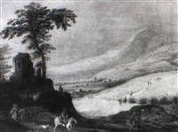 travellers in an extensive landscape by joos de momper the elder