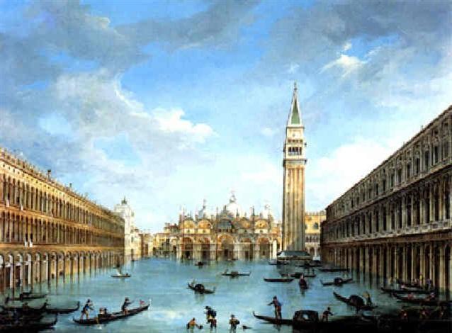 Der Markusplatz in Venedig bei Hochwasser by Vincenzo ...