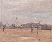 paysage avec église by maurice asselin