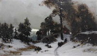 paysage enneigé by arvid mauritz lindström
