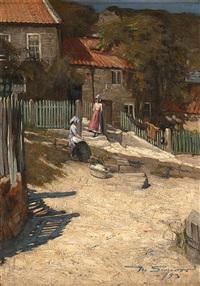 flickor med tvättkorg framför hus med trädgårdar by mark senior
