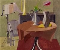 interieur mit blumenvase auf rundem tisch by henry wabel