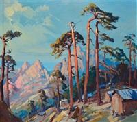 pins et montagnes au bord de mer by pierre bach