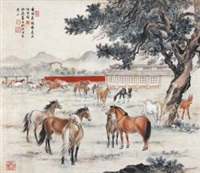 春郊神骏 (horses) by guan songfang and ma jin