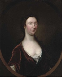 portrait of a lady, half-length, in a brown dress by john theodore heins sr.