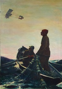 fishermen watching aeroplane overhead (magazine cover illus. for 3/10/1911 issue of popular magazine) by harold matthews brett