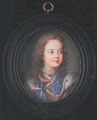louis xv as a child, wearing ermined lined blue cloak held with a sapphire brooch, pink ribbon and armoured breast-plate over white lace chemise with matching brooch by benjamin arlaud