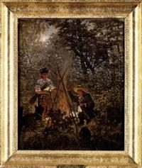 forest bonfire by stanislaw polian wolski