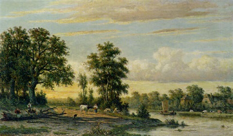 a river landscape by johannes jacobus jan heppener