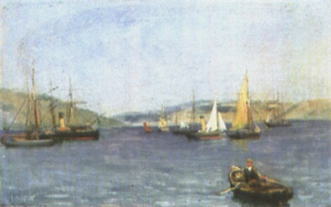 harbor scene by frederick j sang
