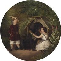 bildnis felix (1849-1909) und doris (geb. 1848) seidel mit ihrem treuen gefährten by julius friedrich ludwig runge