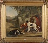 chiens de chasse au repos by édouard-joris moerenhout