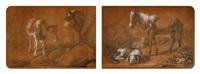 vache et son veau et chien couché devant un cheval et un mouton (2 works) by francesco londonio