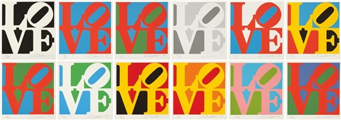book of love portfolio set of 12 by robert indiana