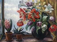 frühlingsblumen im fenster by martha buhl