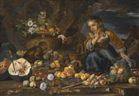 still life of watermelons, apples, figs, pomegranates, flowers and peaches, with a young girl startled by a monkey by bernhard keil and michele pace