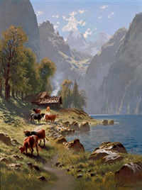 weide am gebirgssee by johann friedrich hennings