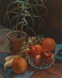 stillleben mit früchten und blumstenstock by fritz rocca-humpoletz