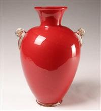 velato monumental red vase by zecchin martinuzzi