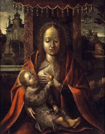 the virgin nursing the christ child by michiel coxie the elder
