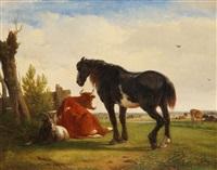 vaches, cheval et chèvre dans la prairie by joseph jodocus moerenhout