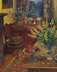 yellow lupins in interior by margaret hannah olley