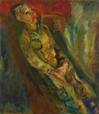 jeune homme obliquement étendu by chaïm soutine