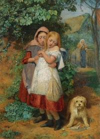 girls, frightened by a dog by edward thompson davis