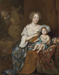 portrait of a lady, seated in a brown and white dress and an embroidered cloak, an orange blossom in her right hand, with a child seated a fountain beyond by johan van haensbergen