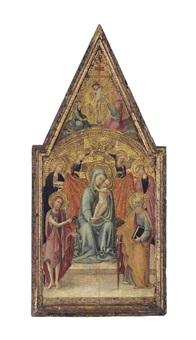 the madonna and child with saints john the baptist, lucy, catherine of alexandria and paul, and two angels, with the crucifixion above by pietro di giovanni d' ambrogio