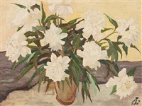 still life with peonies by emil bizer