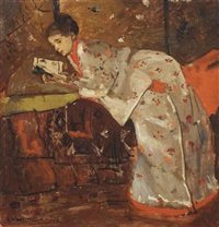 vrouw in japansche kimono (geesje kwak): girl in a white kimono by george hendrik breitner