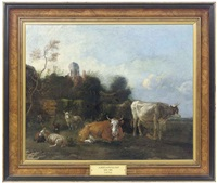 cattle and sheep resting in a pastoral landscape by albert jansz klomp