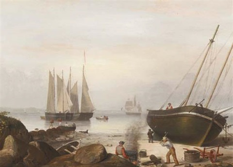 beached for repairs duncans point gloucester by fitz henry lane