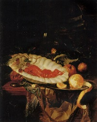 lobsters and cherries in a porcelain bowl, a partly-peeled lemon on a pewter platter, a small silver box, a roemer and oranges on a table ledge by harmen loeding