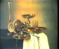 montres et orfevreries disposees sur            un entablement drape en blanc by maerten boelema de stomme