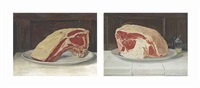 beef and mustard; a rib of beef (pair) by william nicholson