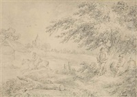 figures in a wooded landscape by george morland