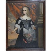 portrait de jeune fille tenant des roses by flemish school (17)