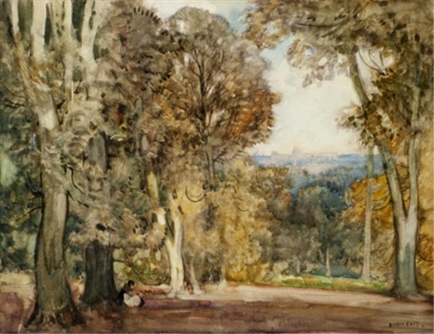 glade with a distant castle by sir alfred east