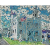public building with american flags by frederick r. wagner