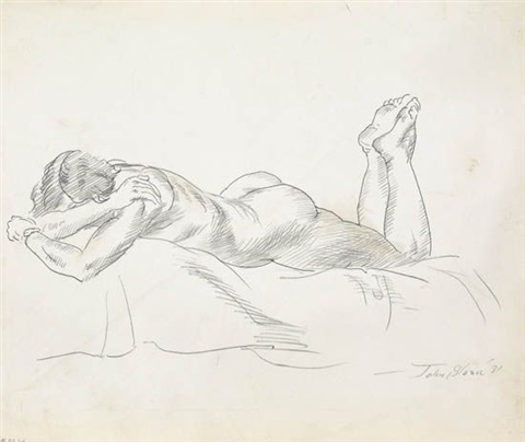 nude resting on a bed * recling nude (2 works) by john french sloan