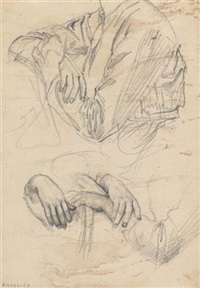 study of hands and drapery by charles fairfax murray